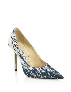 Love Pointed Denim & Leather Pumps by Jimmy Choo