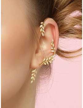 Leaf Design Ear Climber 1pc by Shein