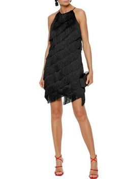 Fringed Satin Crepe Mini Dress by Halston Heritage