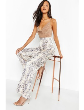 Satin Snake Wide Leg Trousers by Boohoo