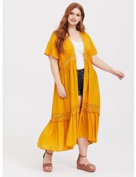 Yellow Crochet Kimono by Torrid