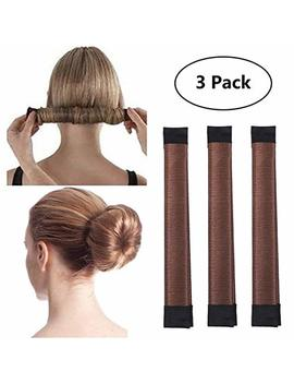3 Pack Magic Hair Styling Disk Donut Bun Maker Former Foam French Twist Hairstyle Clip Fashion Diy Doughnuts Hair Bun Making Curler Roller Tool, Hair Band Accessory Red Brown by Nicemovic