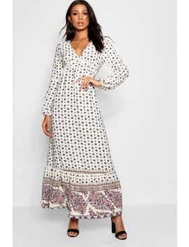 Ella Boarder Print Ruffle Hem Maxi Dress by Boohoo