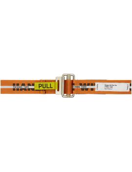 Orange Webbing 'handle With Care' Belt by Heron Preston