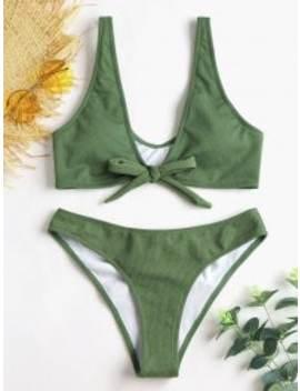 Bowtie Ribbed Scrunch Butt Bikini   Army Green S by Zaful