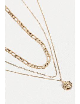 Dreiteilige Halskette In Gold Mit Münzanhänger by Urban Outfitters