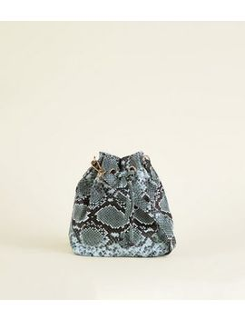 Dark Grey Faux Snake Mini Duffle Bag by New Look