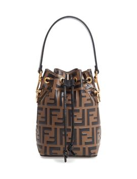 Mini Mon Tresor Logo Calfskin Leather Bucket Bag by Fendi