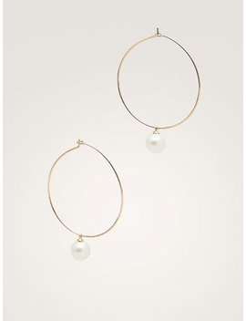 Metal Hoop And Pearl Bead Earrings by Massimo Dutti