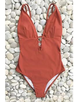 Vibrant Orange Braided Strap One Piece Swimsuit by Cupshe