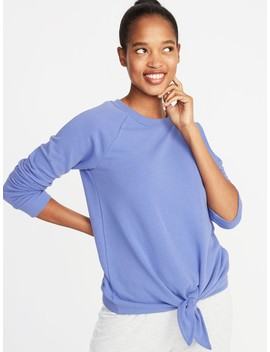 Relaxed French Terry Tie Front Sweatshirt For Women by Old Navy
