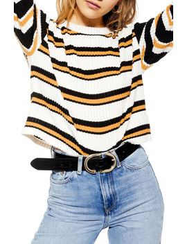 Stripe Cut & Sew Sweater by Topshop