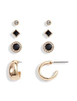 Enamel & Stone Hoop Stud Set by Treasure & Bond