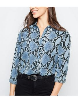 Blue Snake Print Chiffon Longline Shirt by New Look