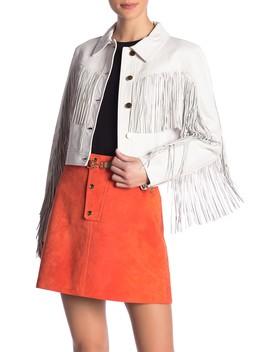 Fitted Fringe Leather Jacket by Diane Von Furstenberg