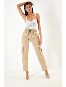 Beige Side Pocket Satin Cargo Trousers by I Saw It First