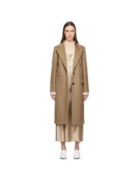 Tan Double Wool Gloss New Magnus Coat by Joseph
