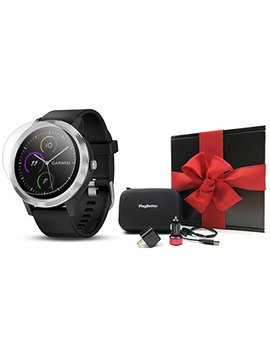 Garmin Vivoactive 3 (Black/Stainless) Gift Box Bundle | Includes Hd Screen Protector (X2), Play Better Usb Wall & Car Charging Adapters, Hard Case | Multi Sport Fitness Gps Watch | Black Gift Box by Play Better