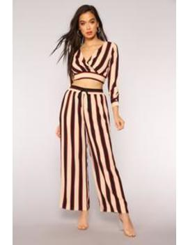 Down The Line Stripe Pants   Taupe by Fashion Nova