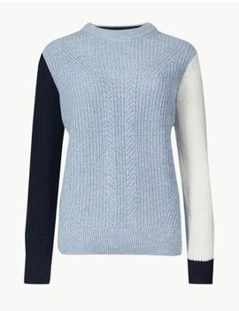 Pure Cotton Textured Round Neck Jumper by Marks & Spencer