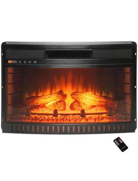 25 In. Freestanding Electric Fireplace Insert Heater In Black With Curved Tempered Glass And Remote Control by Akdy