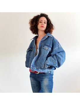 Vintage 90s Cropped Denim Jacket, Oversized Denim Jacket, Trucker Denim Jacket   Unixes   Aviatic Jeans Jackets by Etsy