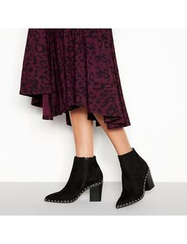 Faith   Black Suedette 'bombshell' Block Heel Ankle Boots by Faith