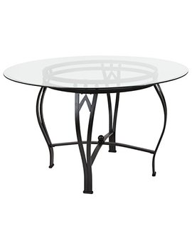 Flash Furniture Syracuse 48'' Round Glass Dining Table With Black Metal Frame by Flash Furniture