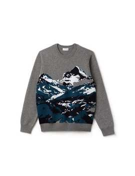 Men's Crew Neck Mountain Print Wool And Cotton Jacquard Sweater by Lacoste