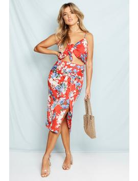 Woven Floral Print Wrap Midi Skirt by Boohoo