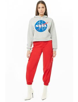 Hooded Nasa Logo Sweatshirt by Forever 21