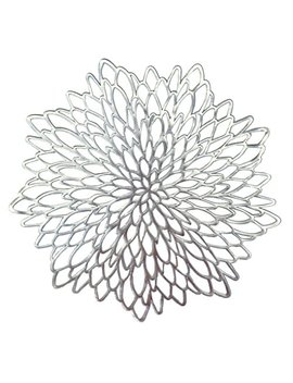 Occasions 10 Pack Pressed Vinyl Metallic Placemats/Charger/Wedding Accent Centerpiece (10 Pcs, Round Silver Leaf) by Occasions Finest Plastic Tableware