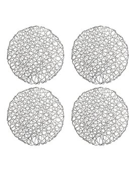 "Holiday Decorative 15"" Round Woven Metallic Foil Shining Placemats,Charger   Set Of 4 (Silver) by Kashi Home"
