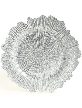 Koyal Wholesale Bulk Flora Glass Charger Plates, Set Of 4, Silver, Starburst Charger Plates, Reef Charger Plates by Koyal Wholesale