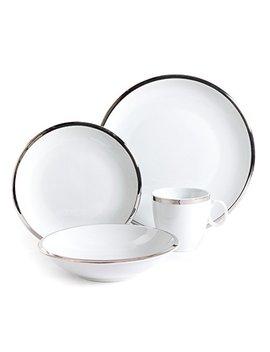 Isaac Mizrahi 98979.16 Rm Skyline 16 Piece Porcelain Dinnerware Set, Silver And White by Isaac Mizrahi