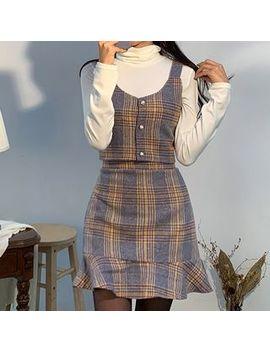 Icecream12   Set: Plaid Bustier Top + Ruffle Hem Mini Skirt by Icecream12