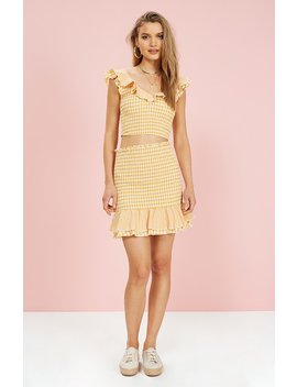 Limonada Gingham Frill Top by Minkpink