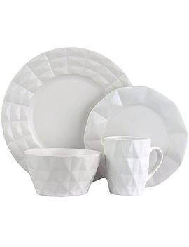 Elama Retro Chic 16 Piece Glazed Dinnerware Set In White by Elama Retro Chic