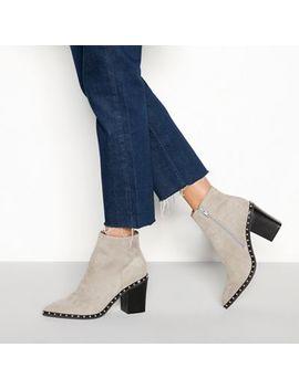 Faith   Grey Suedette 'bombshell' Block Heel Ankle Boots by Faith