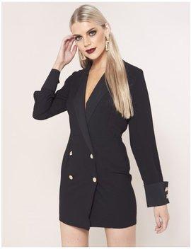 Black Satin Blazer Dress by Public Desire
