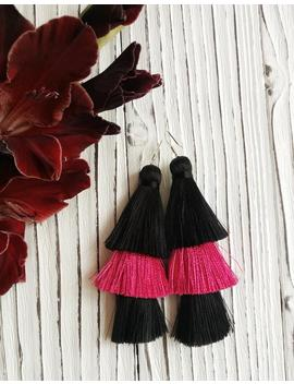 Tiered Tassel Earrings Hot Pink Tassels Black And Pink Fringe Earrings Silk Fuchsia Tassel Earrings Statement Earrings Layered Earrings by Etsy