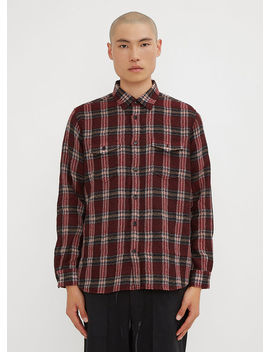 Checked Field Shirt In Red by Saint Laurent