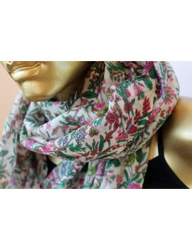 Winter Wool Scarf With Pink And Green Floral Print   Floral Scarf By Mayil   Birthday Gift Scarf For Her by Etsy
