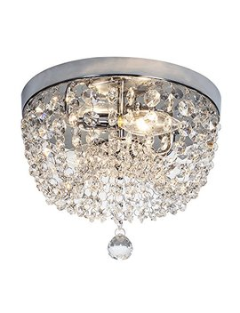 """Sottae 2 Lights Ceiling Light Pendant Fixture Lighting Chrome Finish Modern Crystal Chandelier, Crystal Ceiling Light(9.8"""") by Sottae"""