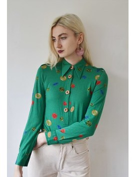 Vintage Green Blouse Shirt Top Button Print by Betty Berry