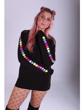 Unisex Sweatshirt In Black With Glitter Hearts On The Sleeve by Lime Blonde