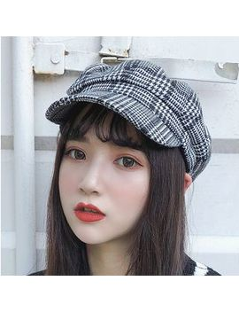 Pompabee   Plaid / Houndstooth / Tweed Newsboy Cap by Pompabee