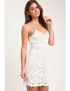 Perfect Love White And Nude Lace Mini Dress by Lulus