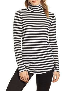 Stripe Jersey Turtleneck by Lou & Grey
