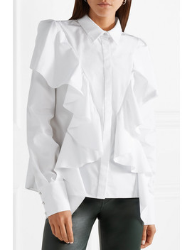 Ruffled Cotton Poplin Shirt by Mugler